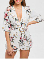 Plunge Floral Print Romper with Belt -
