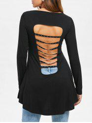 Back Cut Out High Low Asymmetrical T-shirt -