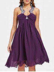 Jewel Neck Backless Party Dress -