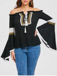 Off Shoulder Embroidery Bell Sleeve Top with Tie -