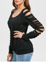 Shredded Sleeve Scoop Neck Sweatshirt -