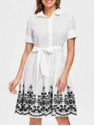 Embroidery Belted A Line Dress -