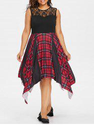 Plus Size Plaid Lace Trim Handkerchief Dress -