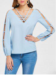 Long Sleeve Strappy Cut Out Blouse -