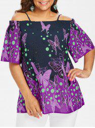 Plus Size Cold Shoulder Butterflies Blouse -