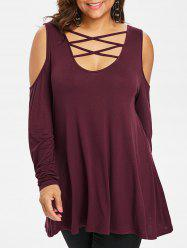 Plus Size Criss Cross Open Shulder T-shirt -