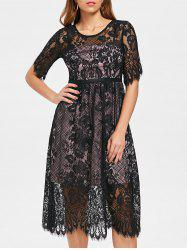 Lace Overlay Midi Party Dress -