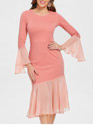 Flare Sleeve Chiffon Panel Bodycon Dress -