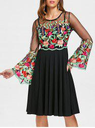 Flare Sleeve Embroidered See Through Dress -