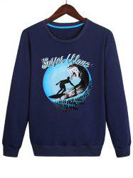 Sweat-Shirt Pull-over Surf Imprimé - Bleu profond XL