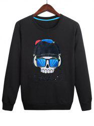 Casual Skull Wearing Headphones Print Sweatshirt -