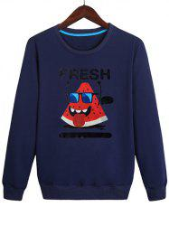 Watermelon with Glasses Print Pullover Sweatshirt -
