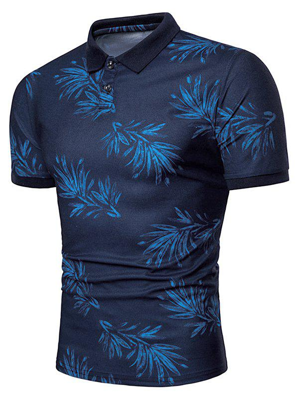 New Leaves Print Short Sleeve Casual Polo Shirt