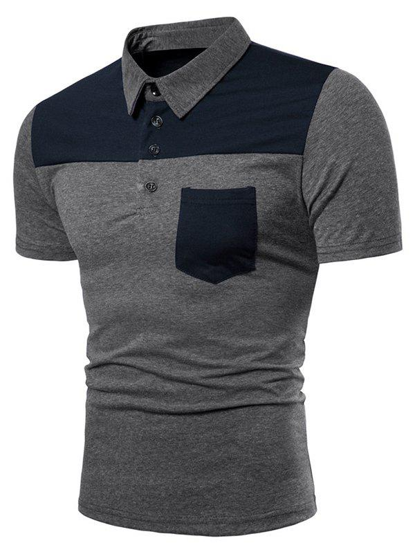 Sale Two Tone Top Pocket Patch Polo Shirt
