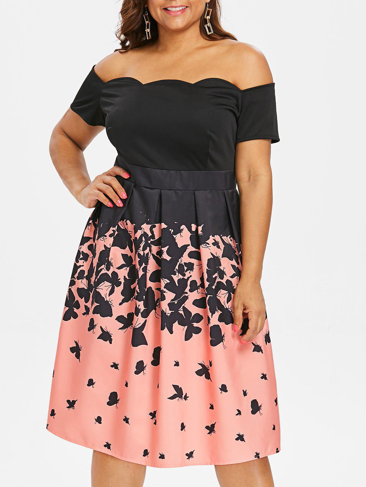 Discount Plus Size Butterflies Print Vintage Scalloped Dress