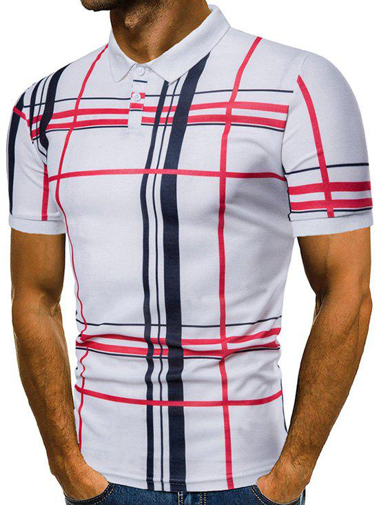Online Plaid Print Short Sleeve Summer Polo Shirt