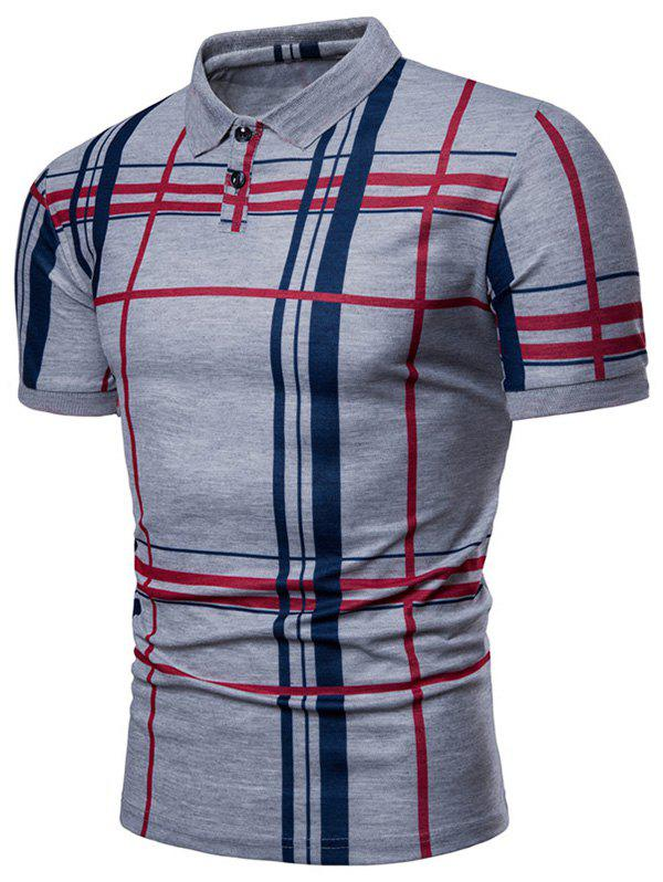 Fancy Plaid Print Short Sleeve Summer Polo Shirt