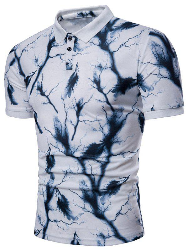 Outfit Lightning Feather Print Breathable Polo Shirt