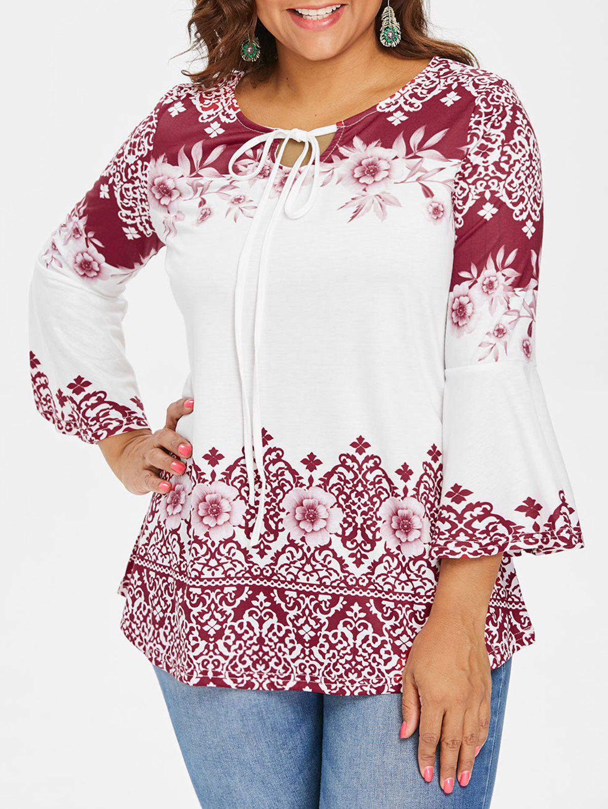 Chic Plus Size Print Flare Sleeve T-shirt