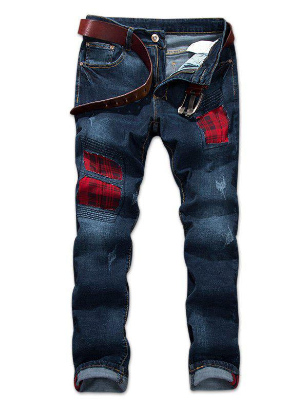 Discount Destroyed Check Print Panel Jeans