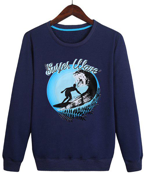 Sweat-Shirt Pull-over Surf Imprimé Bleu profond XL