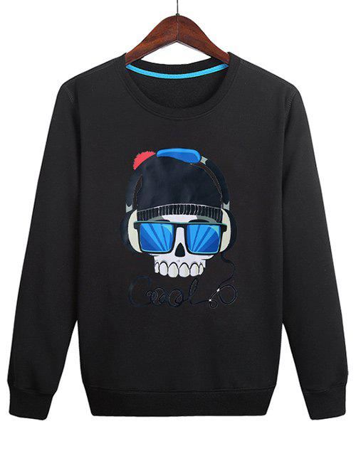 Hot Casual Skull Wearing Headphones Print Sweatshirt