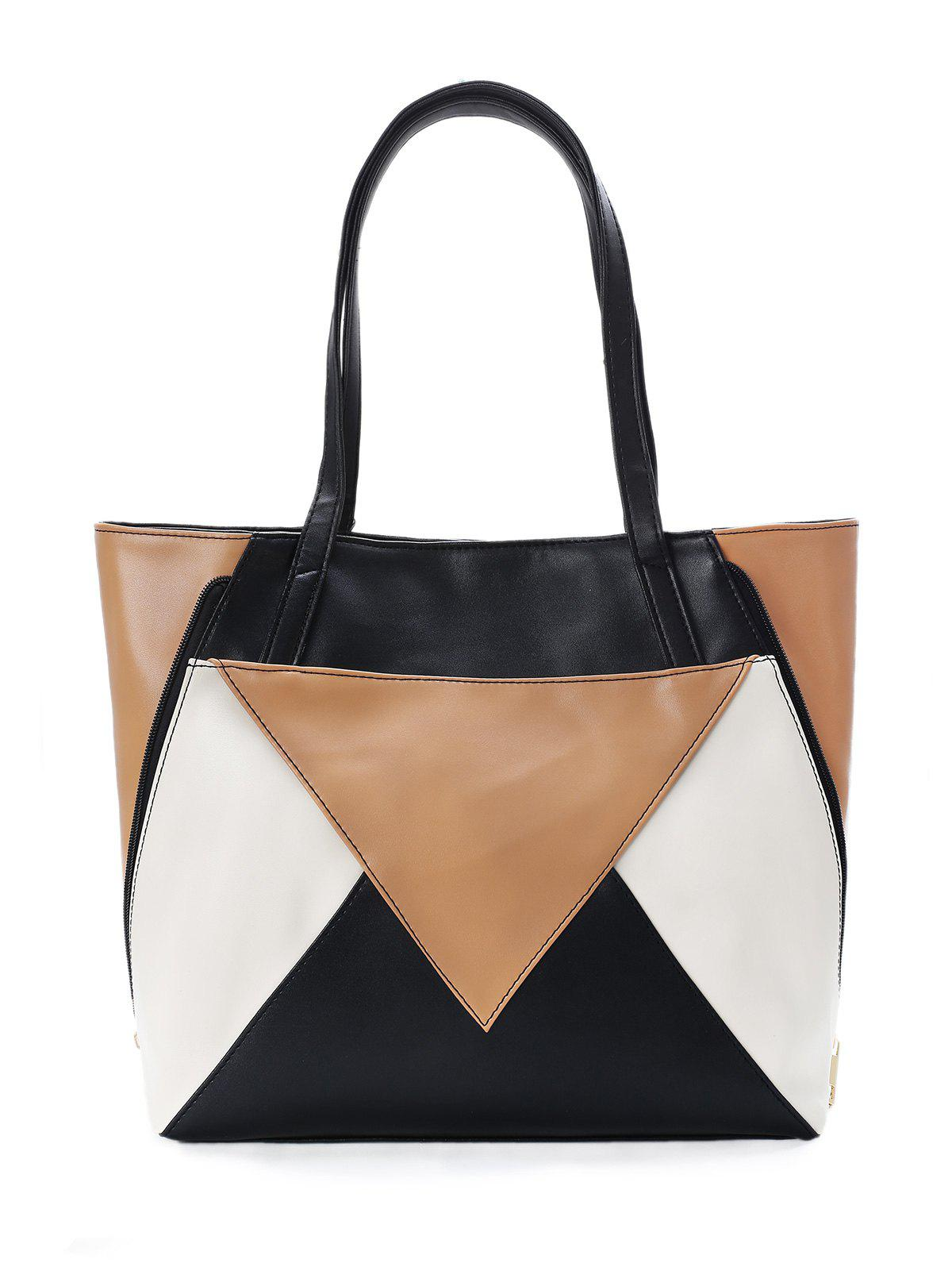 Latest Chic Color Block Convertible Geometric Tote Bag