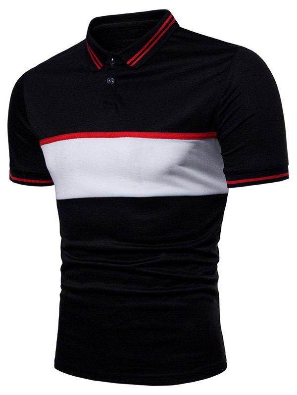 Shop Contrast Striped Patch Short Sleeve Polo Shirt