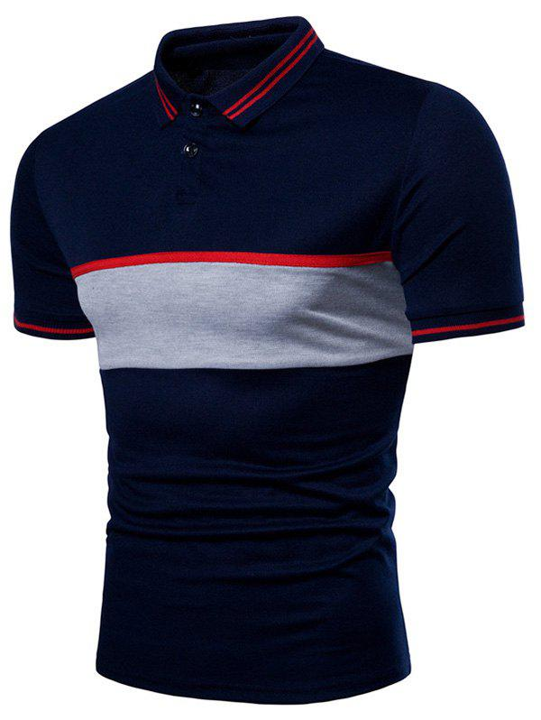 Trendy Contrast Striped Patch Short Sleeve Polo Shirt
