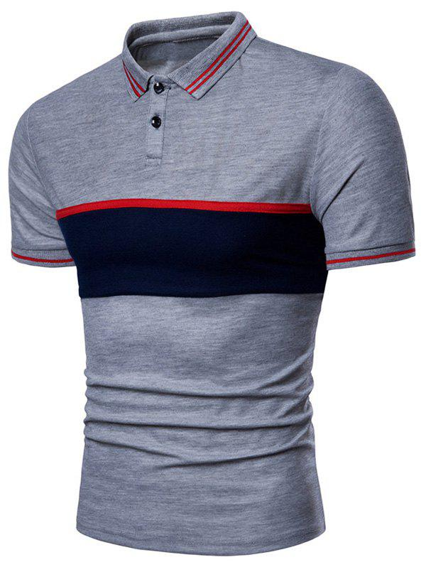 Hot Contrast Striped Patch Short Sleeve Polo Shirt