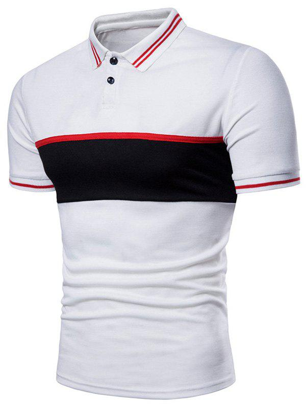 Best Contrast Striped Patch Short Sleeve Polo Shirt