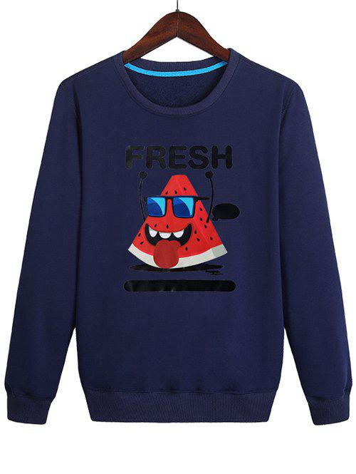 Latest Watermelon with Glasses Print Pullover Sweatshirt