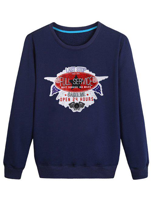 Shop Letter Stamp Print Casual Sweatshirt