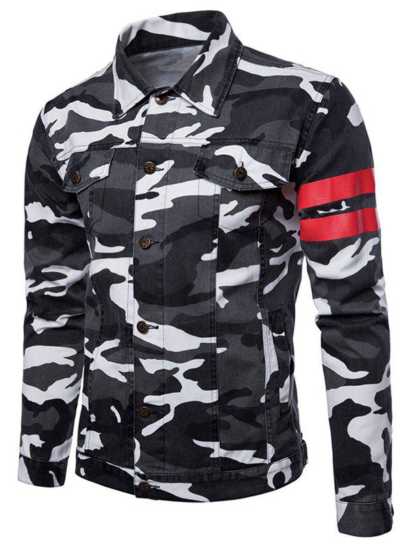 Fashion Camouflage Stripe Button Up Jacket