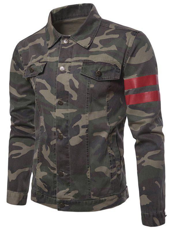 Outfit Camouflage Stripe Button Up Jacket