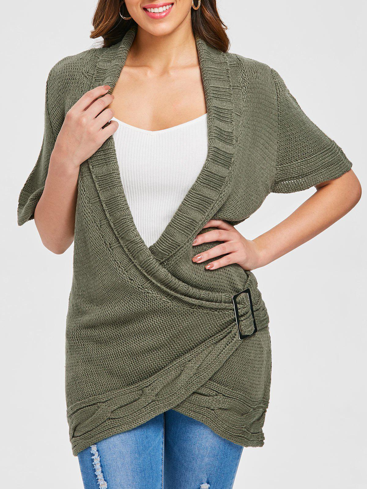 Online Shawl Collar Buckled Surplice Sweater Dress