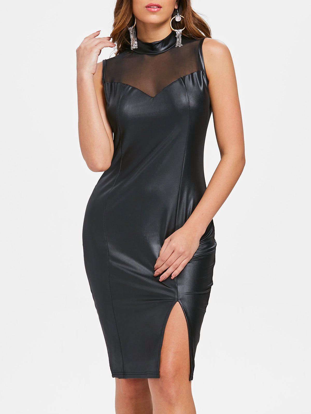 Shops Faux Leather Mesh Yoke Bodycon Dress