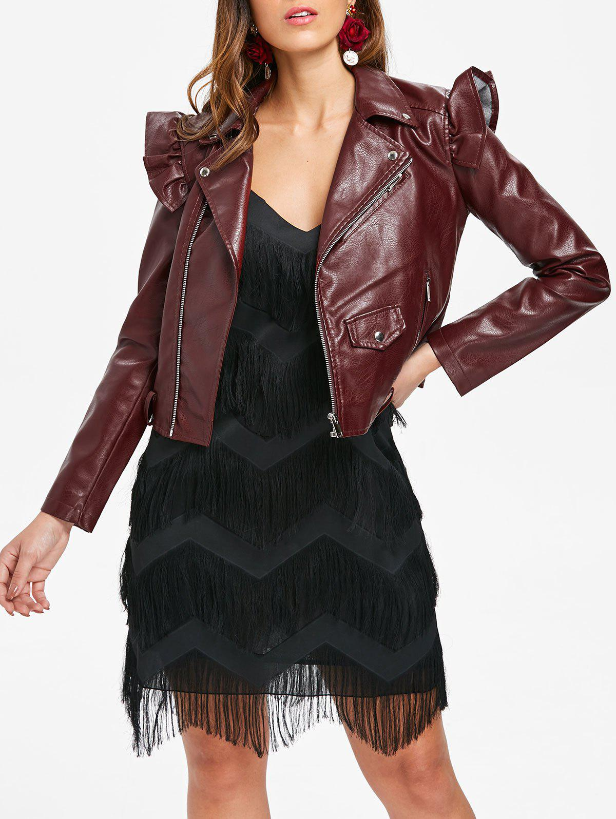Discount Belt Hem Faux Leather Jacket