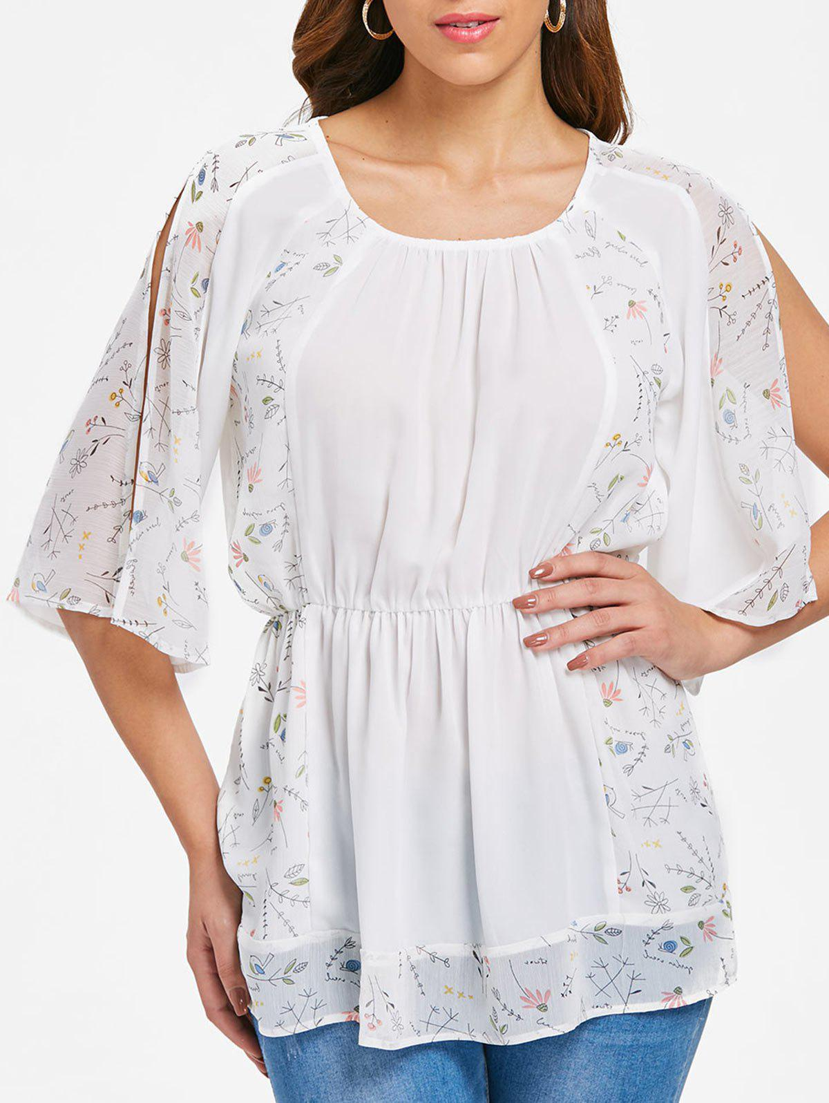 Cheap Slit Sleeve Print Panel Blouse