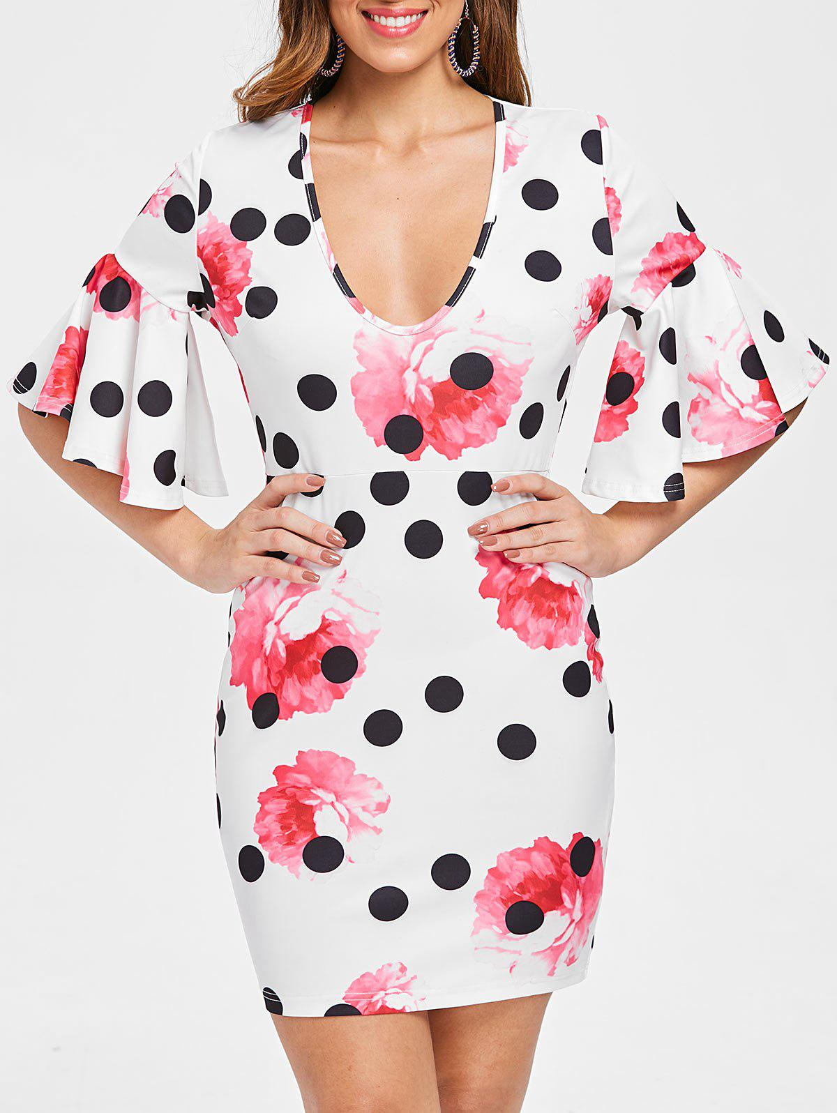 Shops Floral Polka Dot Print Slim Fit Dress