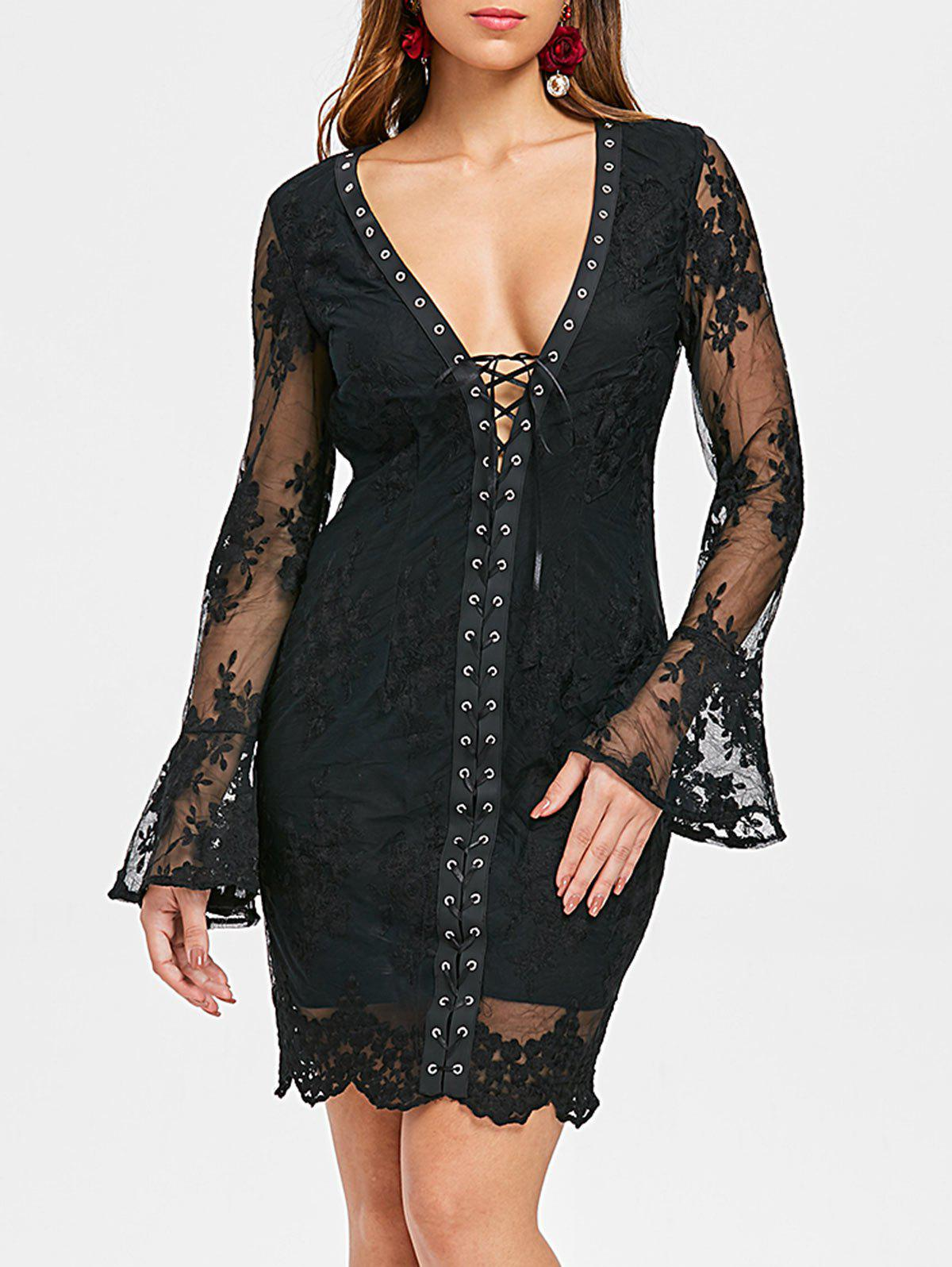 Latest Low Cut Lace Up Embroidered Dress