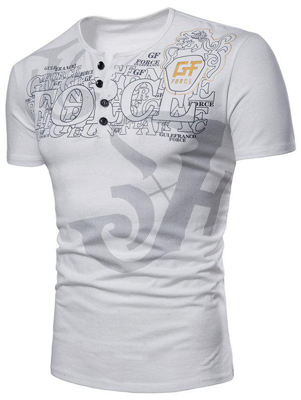 Affordable Short Sleeve Letter Print Henley T-shirt