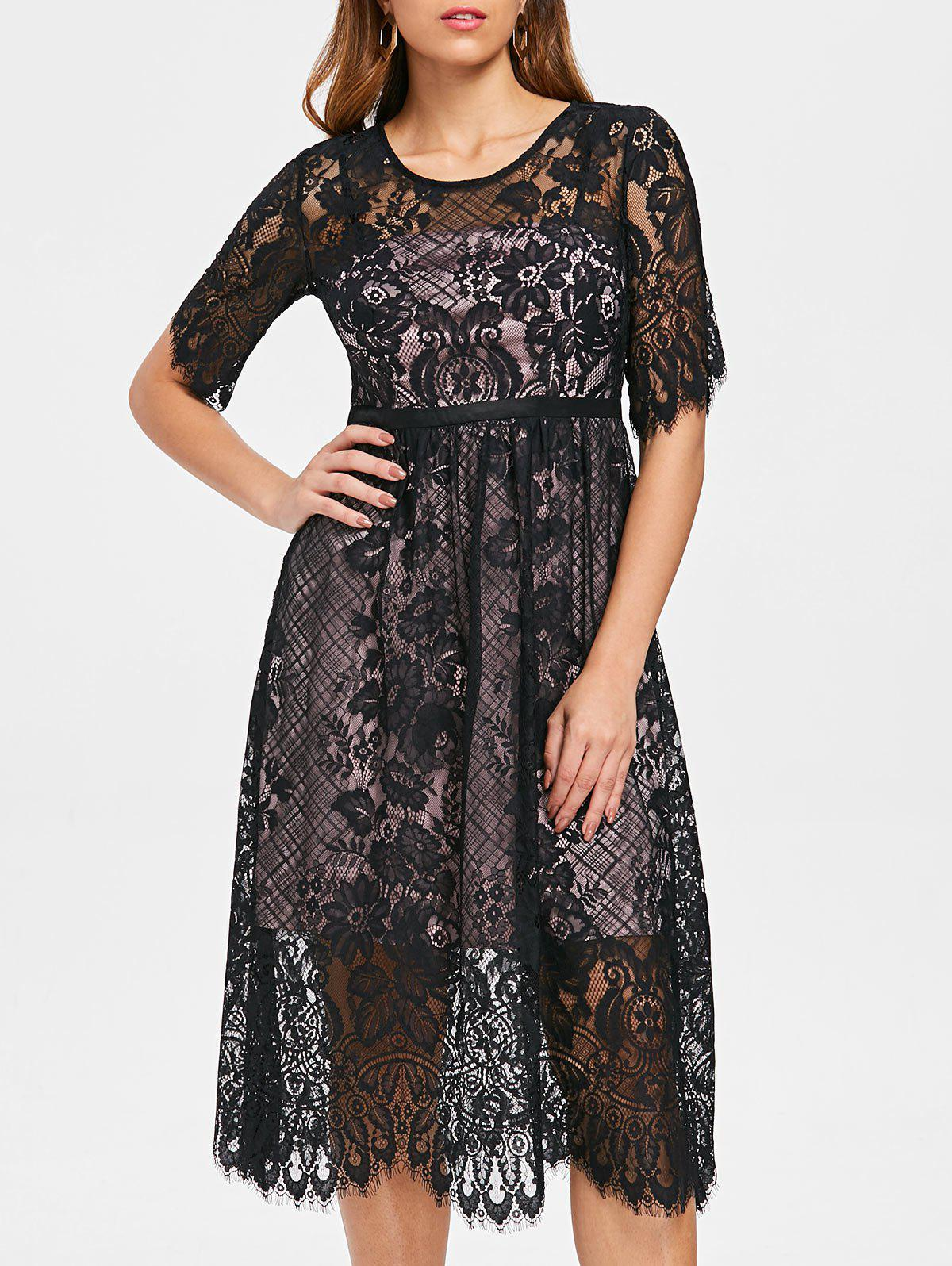 Store Lace Overlay Midi Party Dress