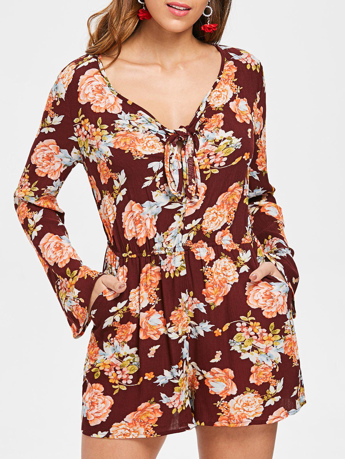 Fancy Floral Print Long Sleeve Romper