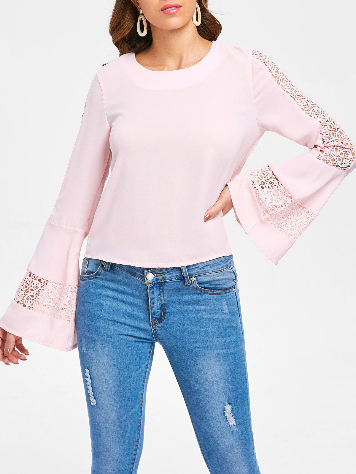 Fancy Bell Sleeve Lace Insert Blouse