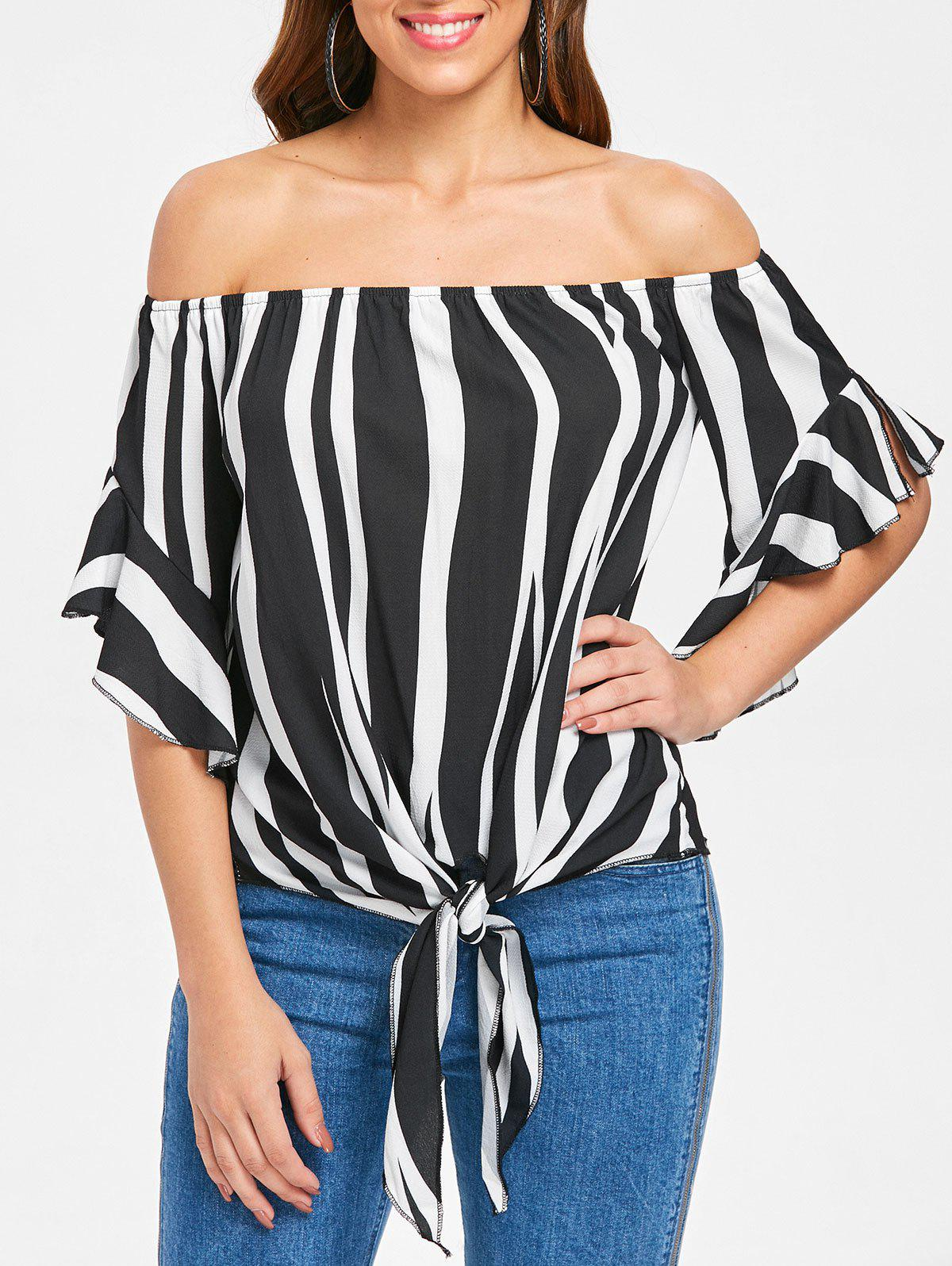 Store Off Shoulder Flare Sleeve Front Tie Blouse