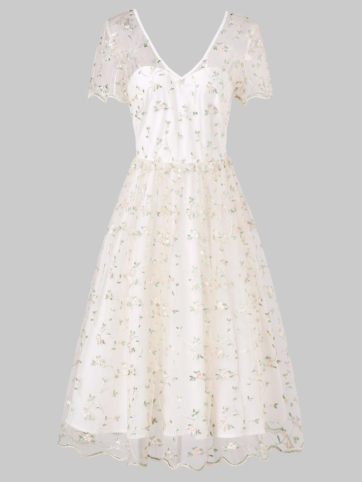 Outfits Tiny Flower Lace Overlay Cocktail Dress
