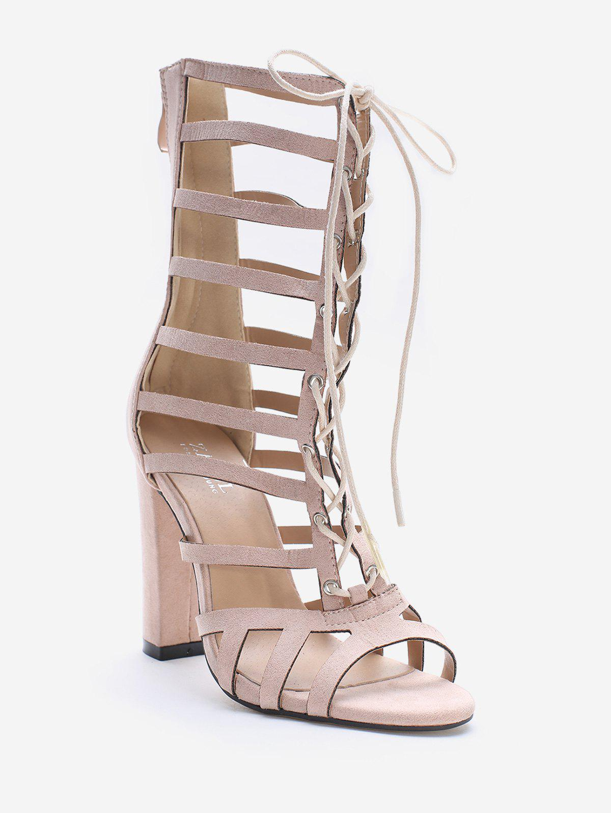 Shops Hollow Out Block Heel Cadged Lace Up Sandals