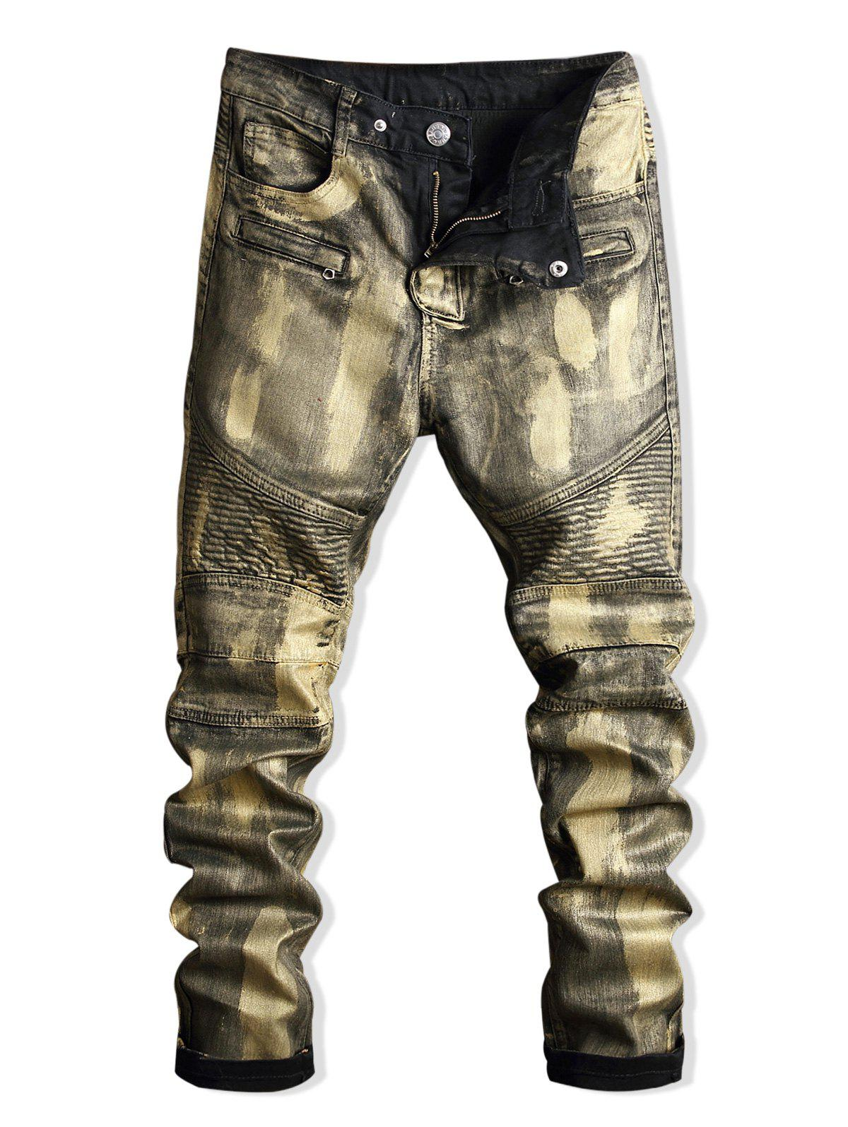 Cheap Zip Embellished Paint Biker Jeans