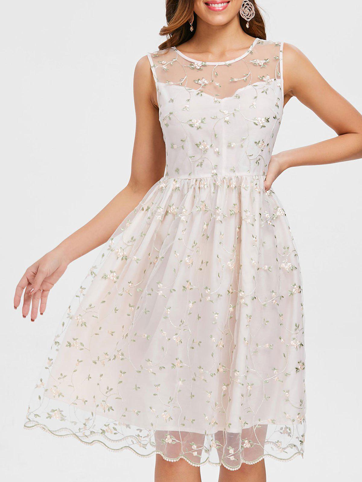 Sale Tiny Floral Embroidery Sleeveless Dress
